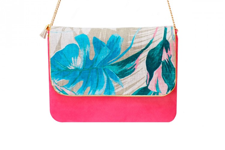 pochette-cuir-rose-toile-tissee-imprime-floral-anse-doree-mode-paulette-et-simone