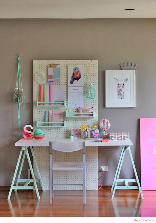 bureau fonctionnel pour une fille. Black Bedroom Furniture Sets. Home Design Ideas