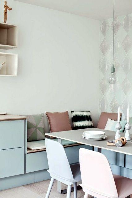 un banc dans une cuisine familiale. Black Bedroom Furniture Sets. Home Design Ideas