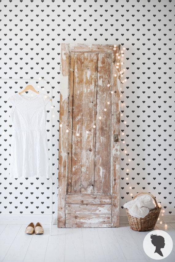 papier peint adh sif motif coeur. Black Bedroom Furniture Sets. Home Design Ideas