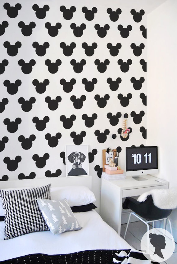 stunning papier peint adhsif motif mickey with stickers mickey noir et blanc. Black Bedroom Furniture Sets. Home Design Ideas