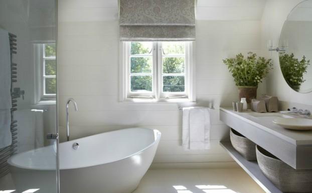 Salle de bain blanche et grise for Salle de bain moderne grise