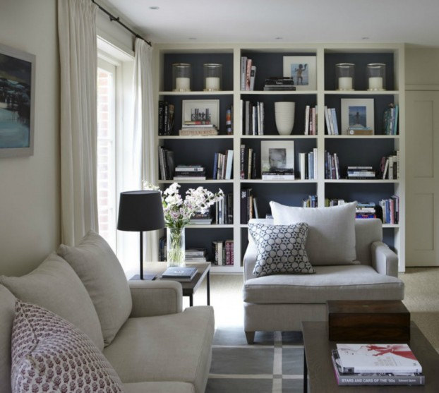 salon cosy avec une biblioth que. Black Bedroom Furniture Sets. Home Design Ideas