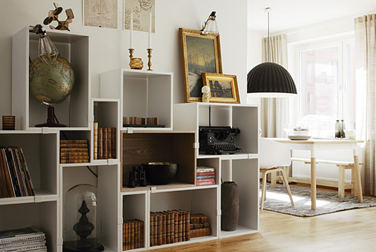 biblioth ques compos es avec des cubes. Black Bedroom Furniture Sets. Home Design Ideas