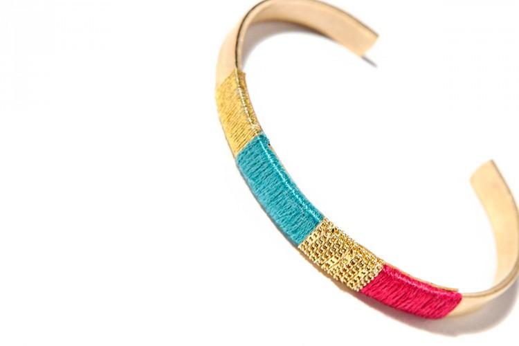 bijoux-createur-faits-main-bracelet-jonc-gourmette-dore-fil-couleur-jez-handmade