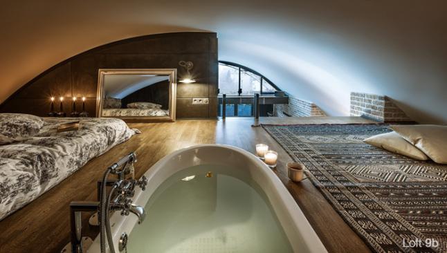 Chambre en mezzanine dans un loft