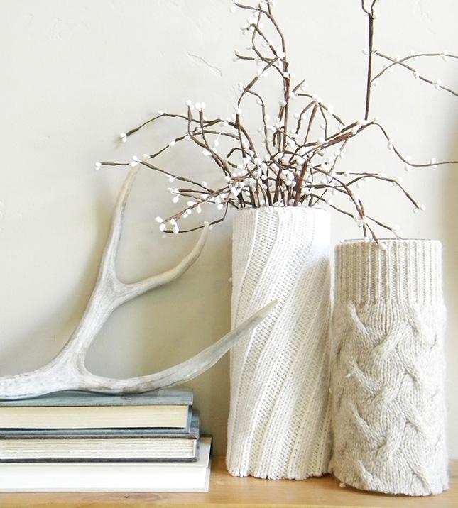 DIY déco vase avec tricot