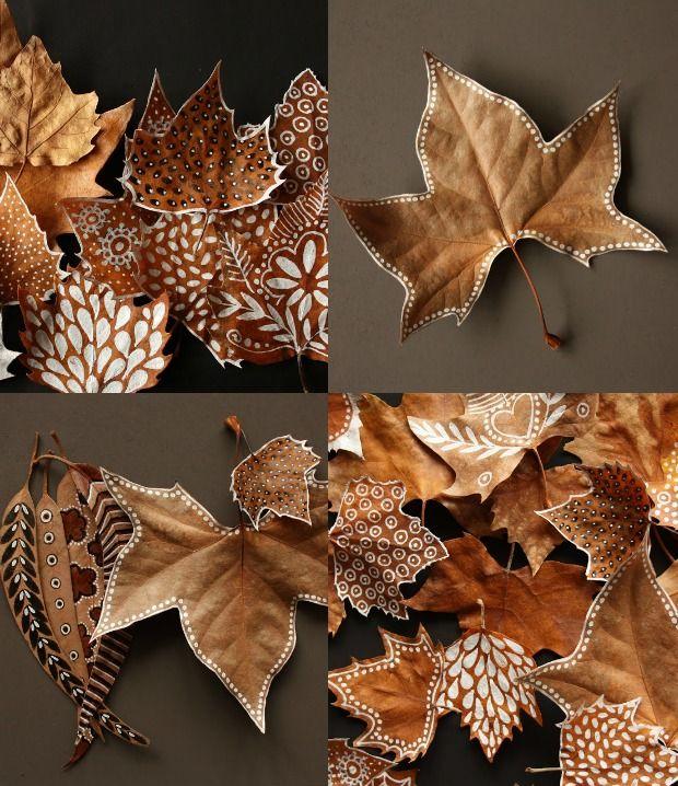 DIY feuilles peintes
