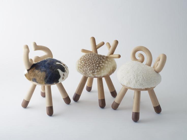 chaise-bois-fourrure-deco-design-chambre-enfant-bambi-belier-vache