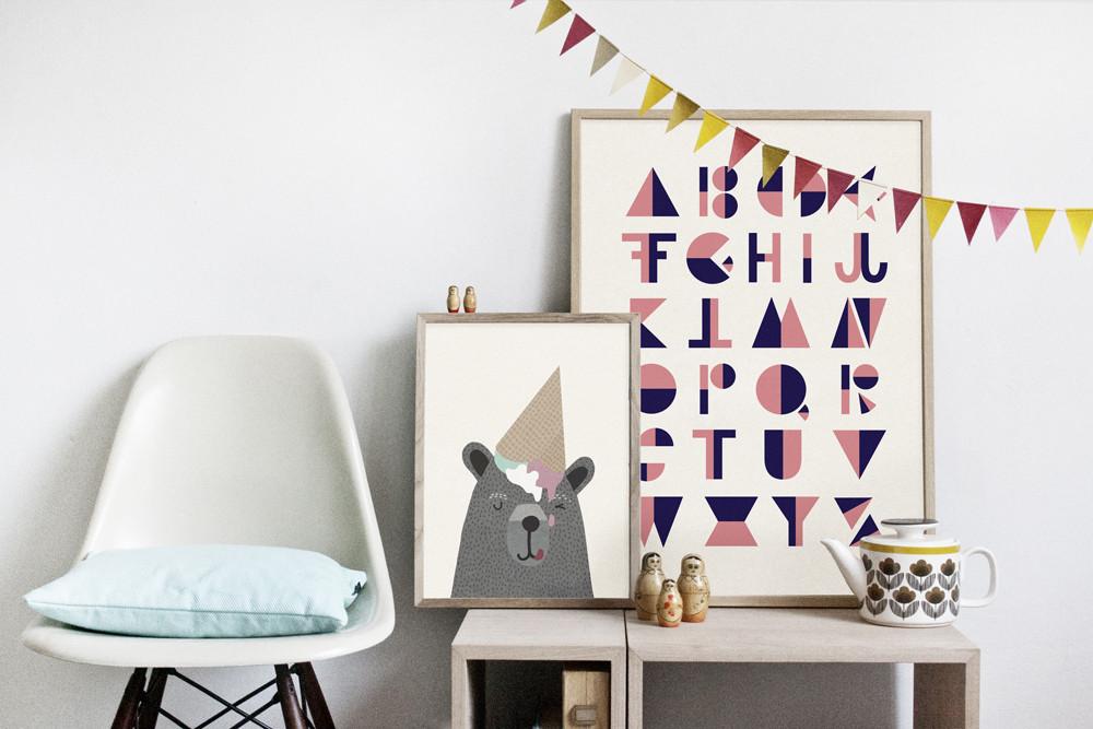 affiches d 39 inspiration scandinave dans une chambre d 39 enfant. Black Bedroom Furniture Sets. Home Design Ideas