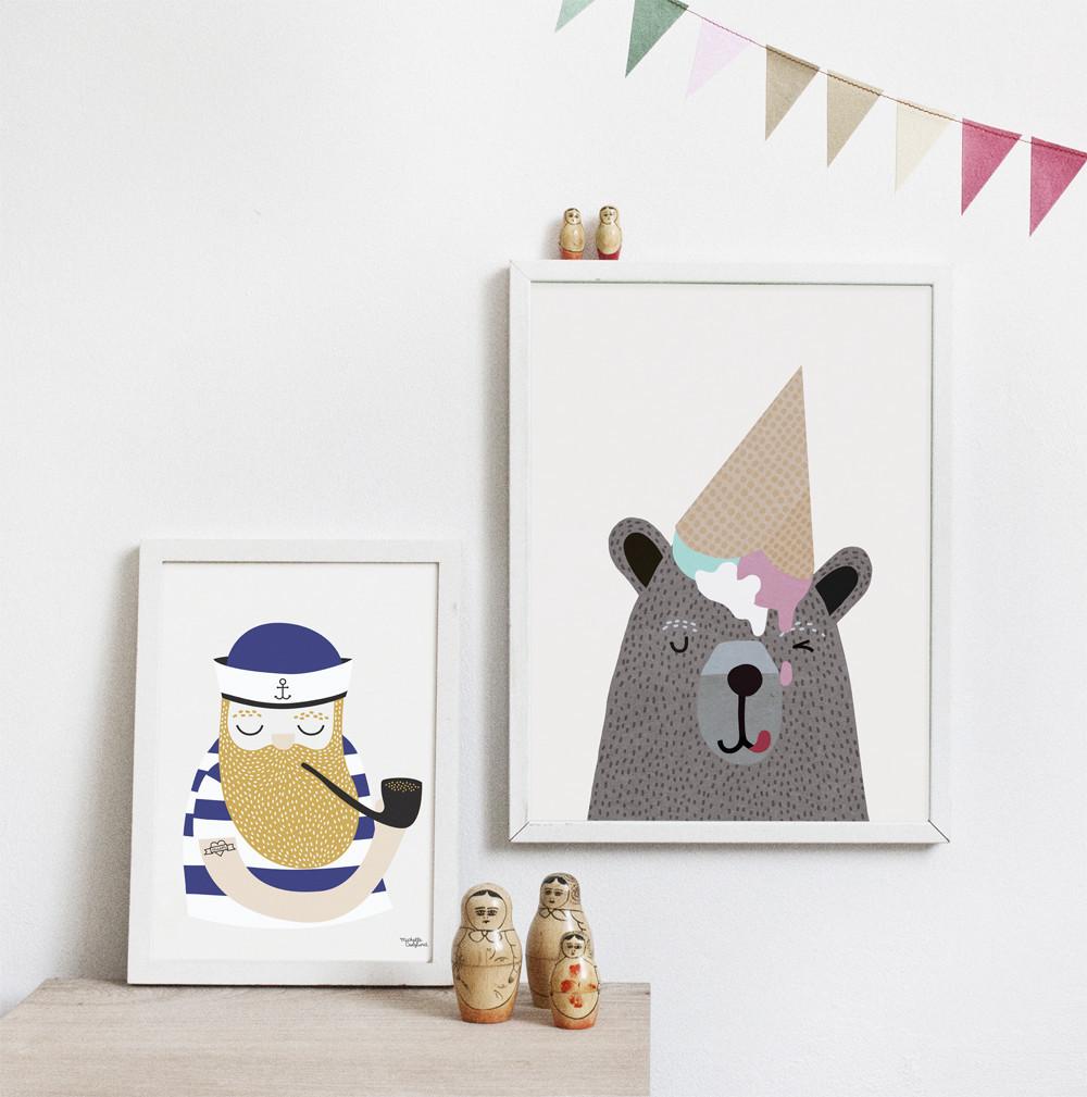 poster-affiches-inspiration-scandinave-marin-ours-glace-renverse-sur-la-tete