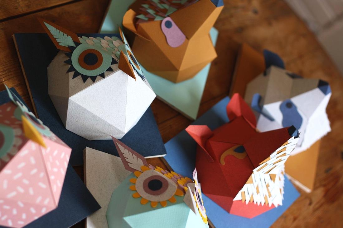 trophee design pliage origami papier tete hiboux renard raton laveur. Black Bedroom Furniture Sets. Home Design Ideas
