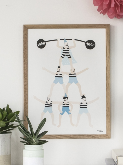 affiche enfant style scandinave theme cirque acrobates personnages rigolos couleurs pastels. Black Bedroom Furniture Sets. Home Design Ideas
