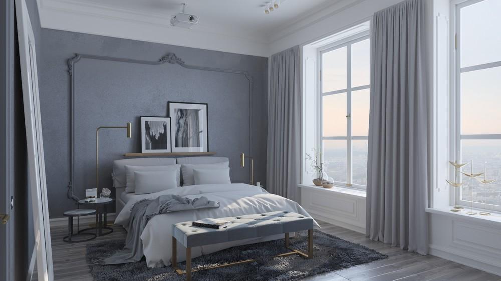 Chambre déco gris et blanc