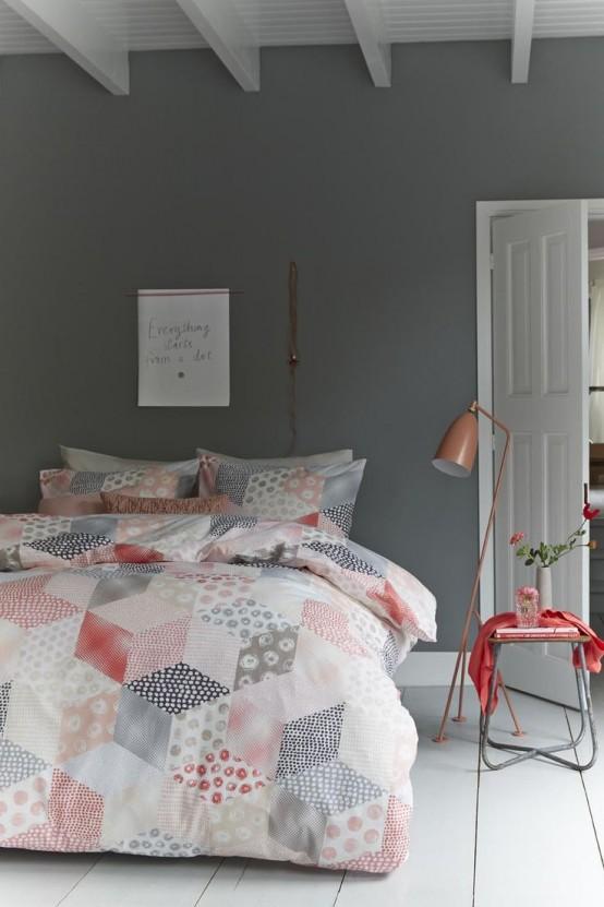 Chambre en gris et corail