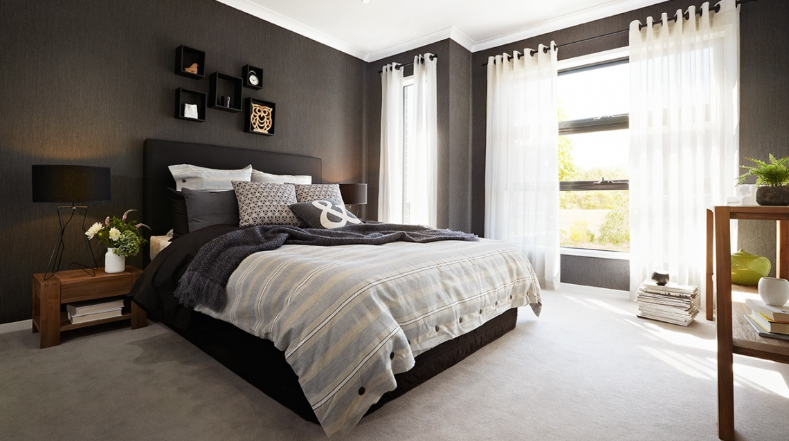 inspirations de chambres noires ou grises. Black Bedroom Furniture Sets. Home Design Ideas