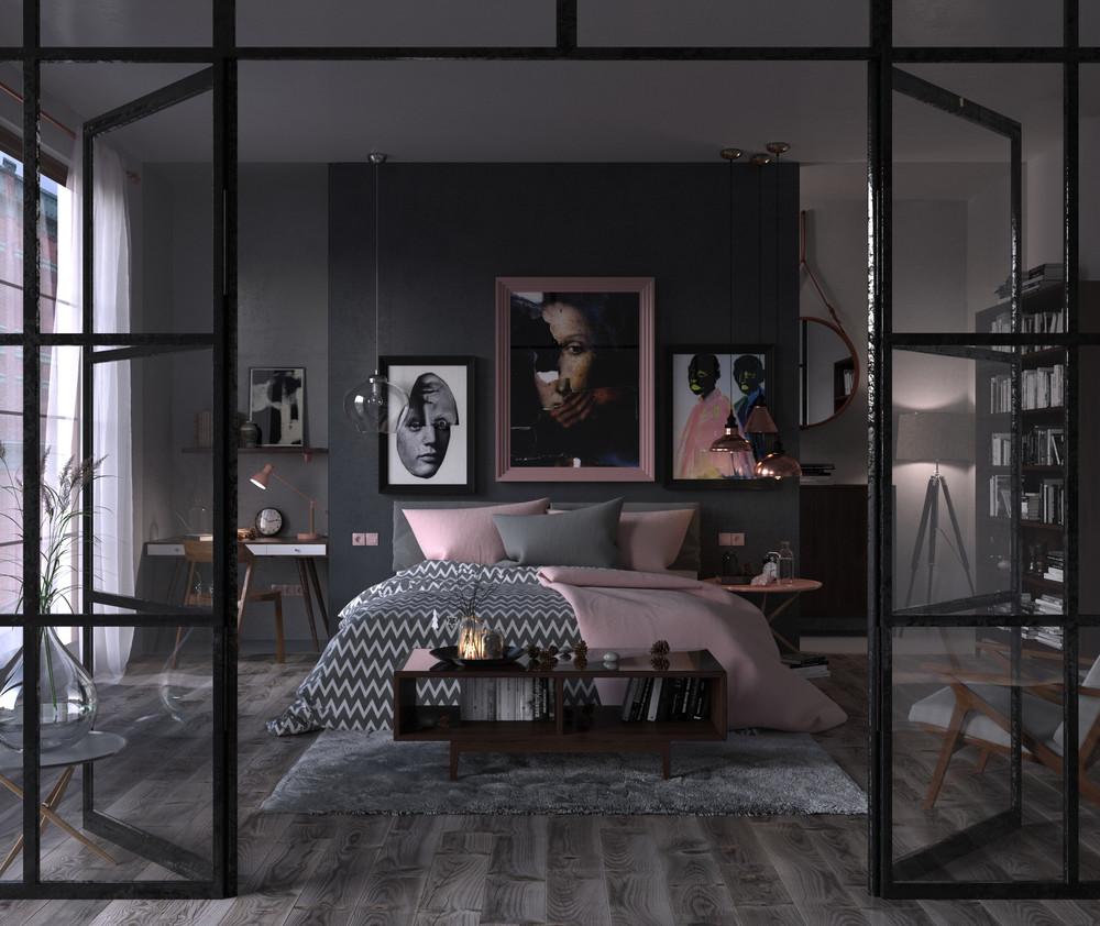 Chambre avec des murs noirs et des touches de rose