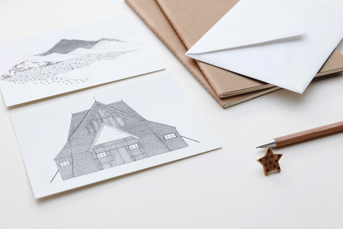 papeterie-cinq-grammes-grise-blanche-design-maison-ferme-paysage-montagnee-cahier-papier-kraft