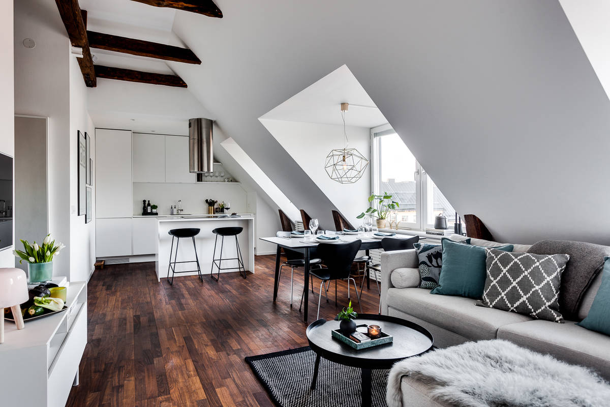 un 56m2 am nag sous des combles. Black Bedroom Furniture Sets. Home Design Ideas