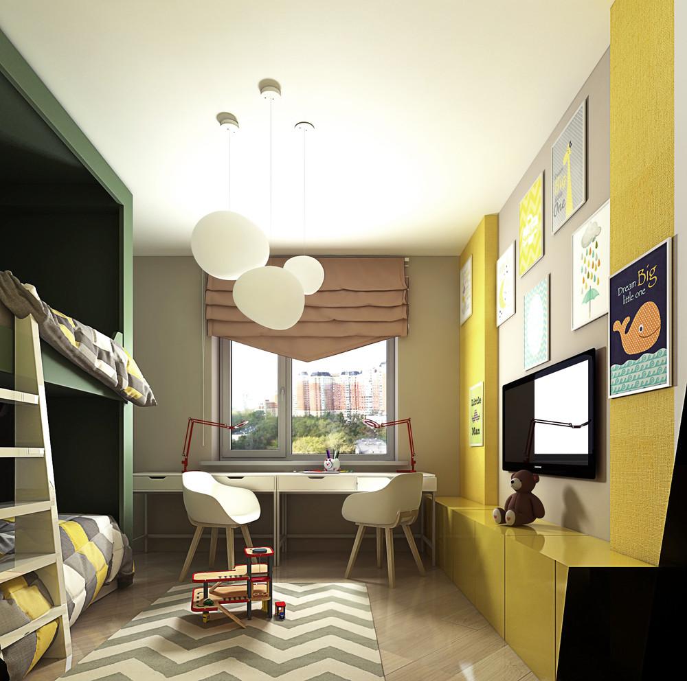 Chambre d'enfant avec du jaune