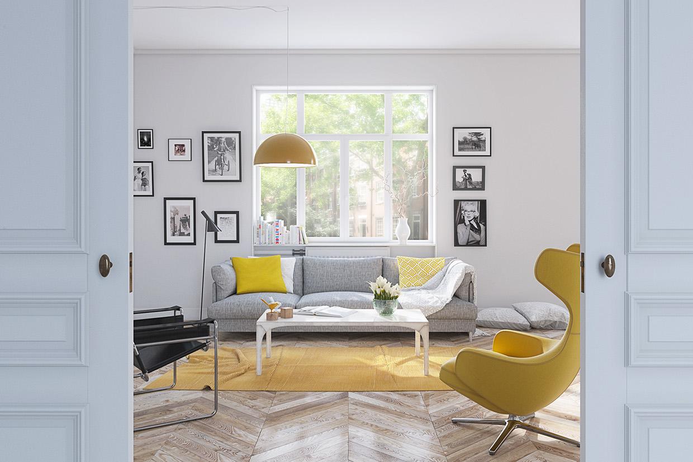 Salon avec une touche de jaune