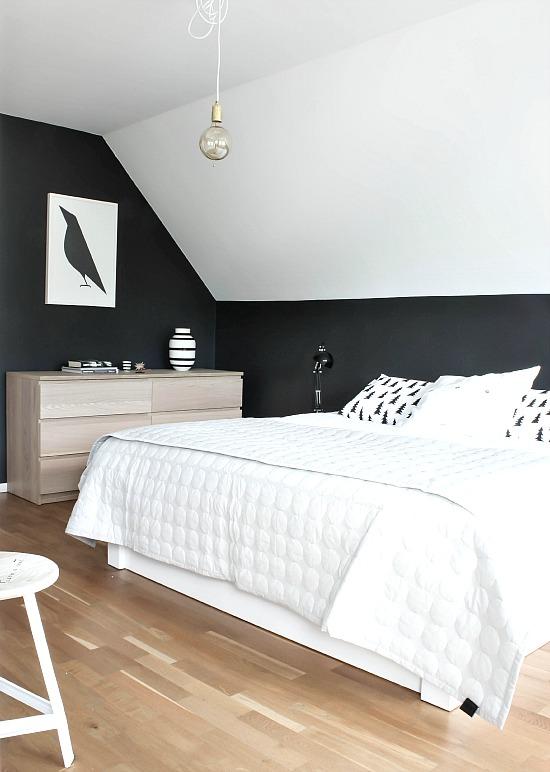 Chambre avec des murs noirs