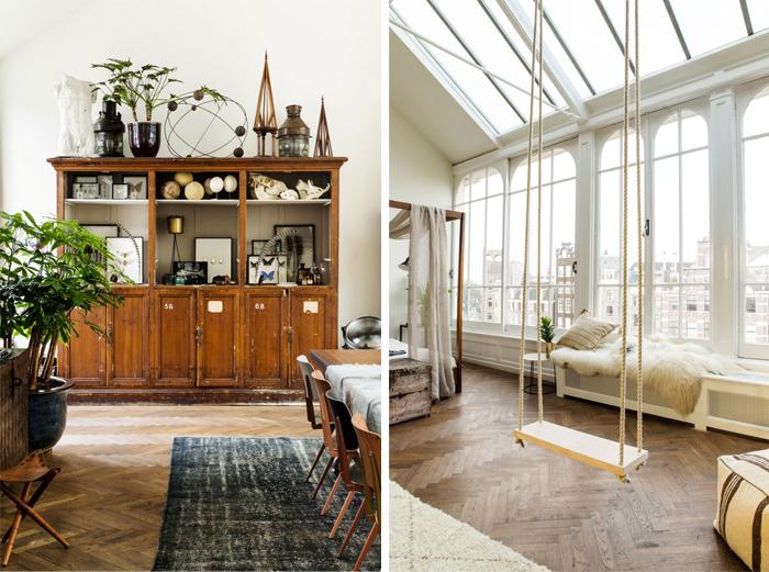 loft-lumineux-familial-parquet-tapis-cheminee-balancoire-interieure-lit-armatures-bois