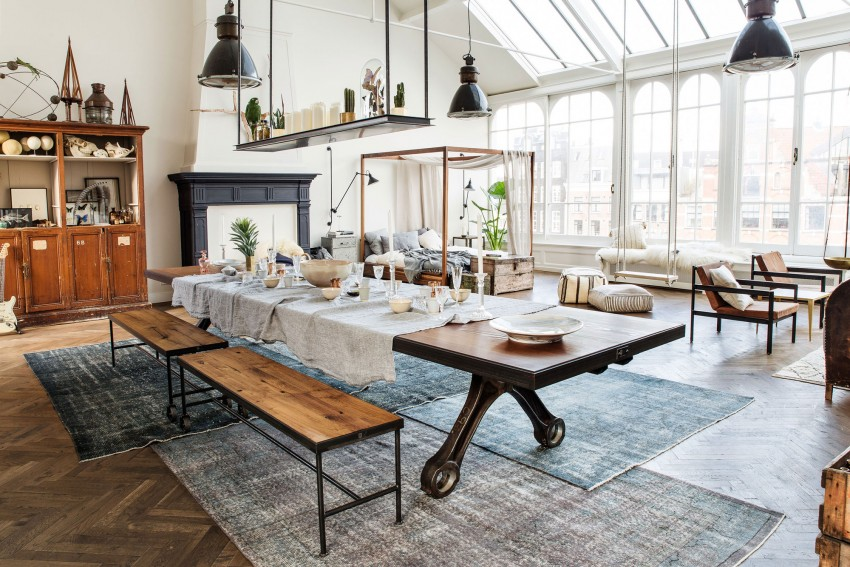 Loft lumineux familial parquet tapis cheminee verriere de - Cheminee suspendue moderne ...