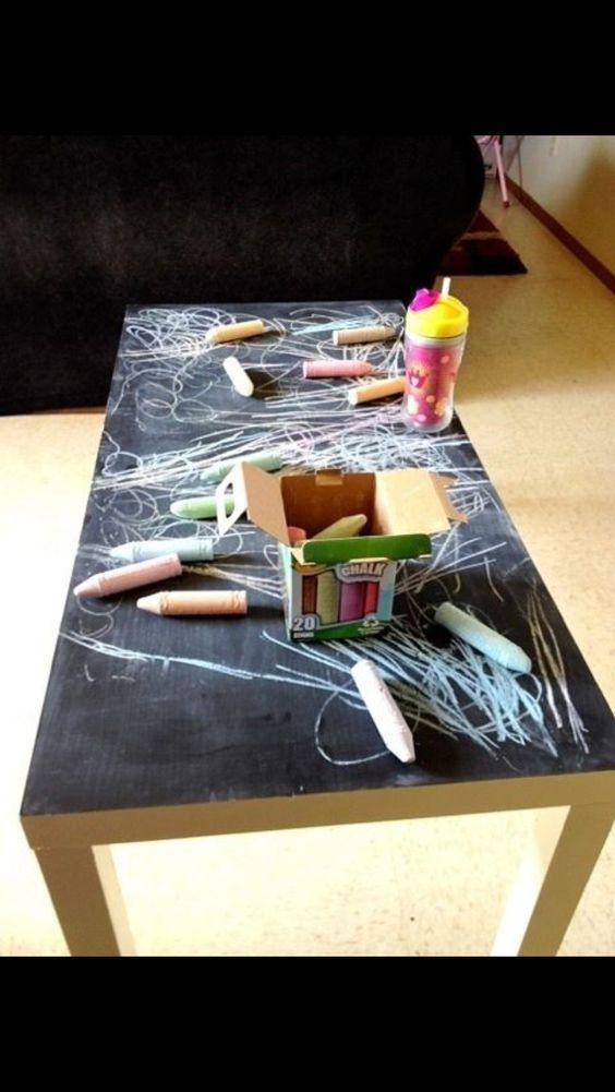 Tableau noir et peinture ardoise dans une chambre d 39 enfant for Peinture table basse