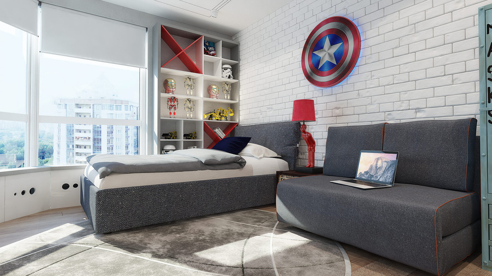chambre pour gar on th me super h ros marvel. Black Bedroom Furniture Sets. Home Design Ideas
