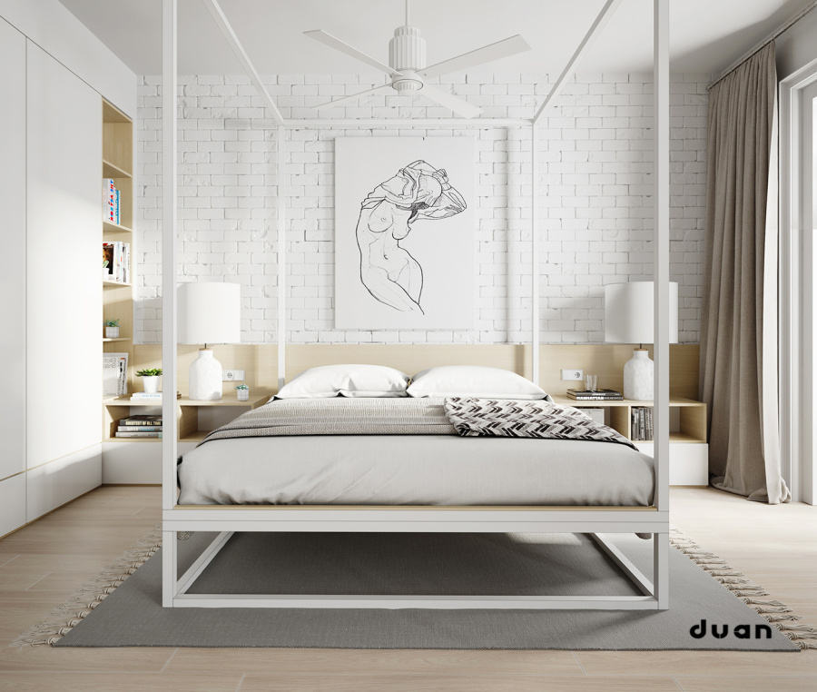 chambre avec un mur en briques blanches. Black Bedroom Furniture Sets. Home Design Ideas