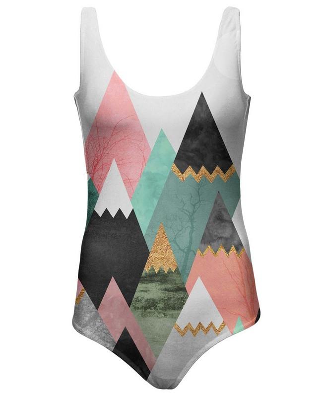 Maillot 1 pièce motif triangle pastel