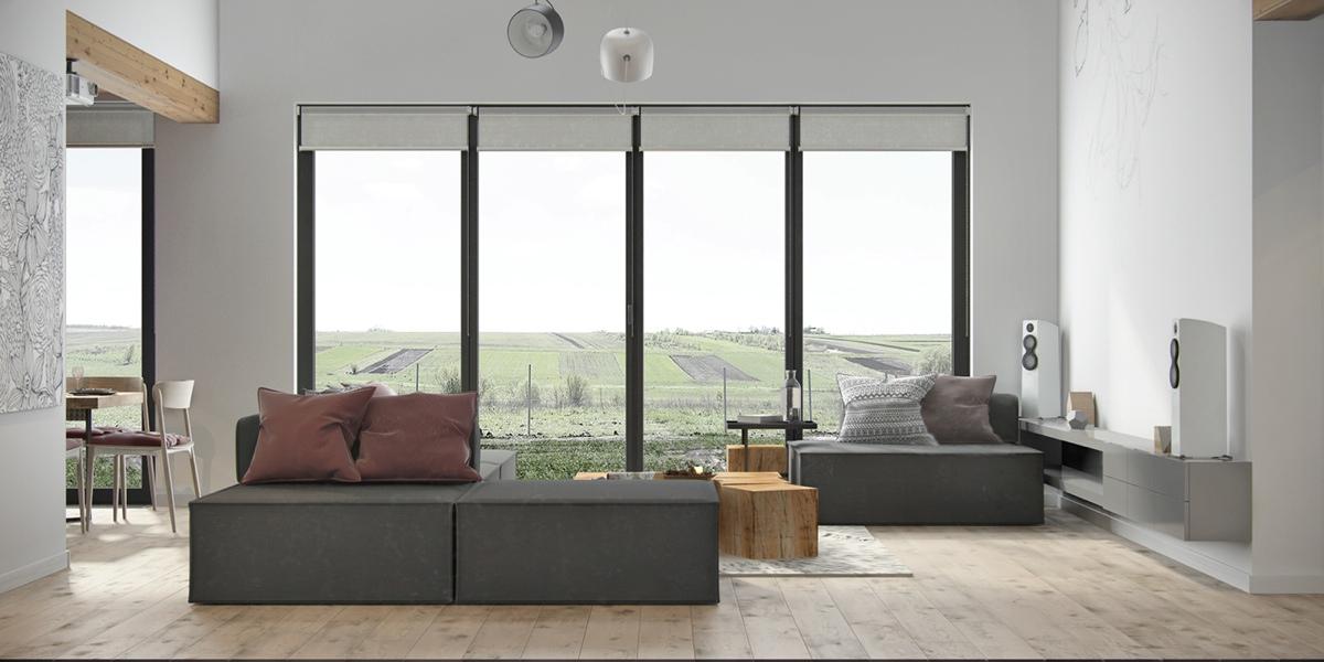 Salon avec de grandes baies vitrées