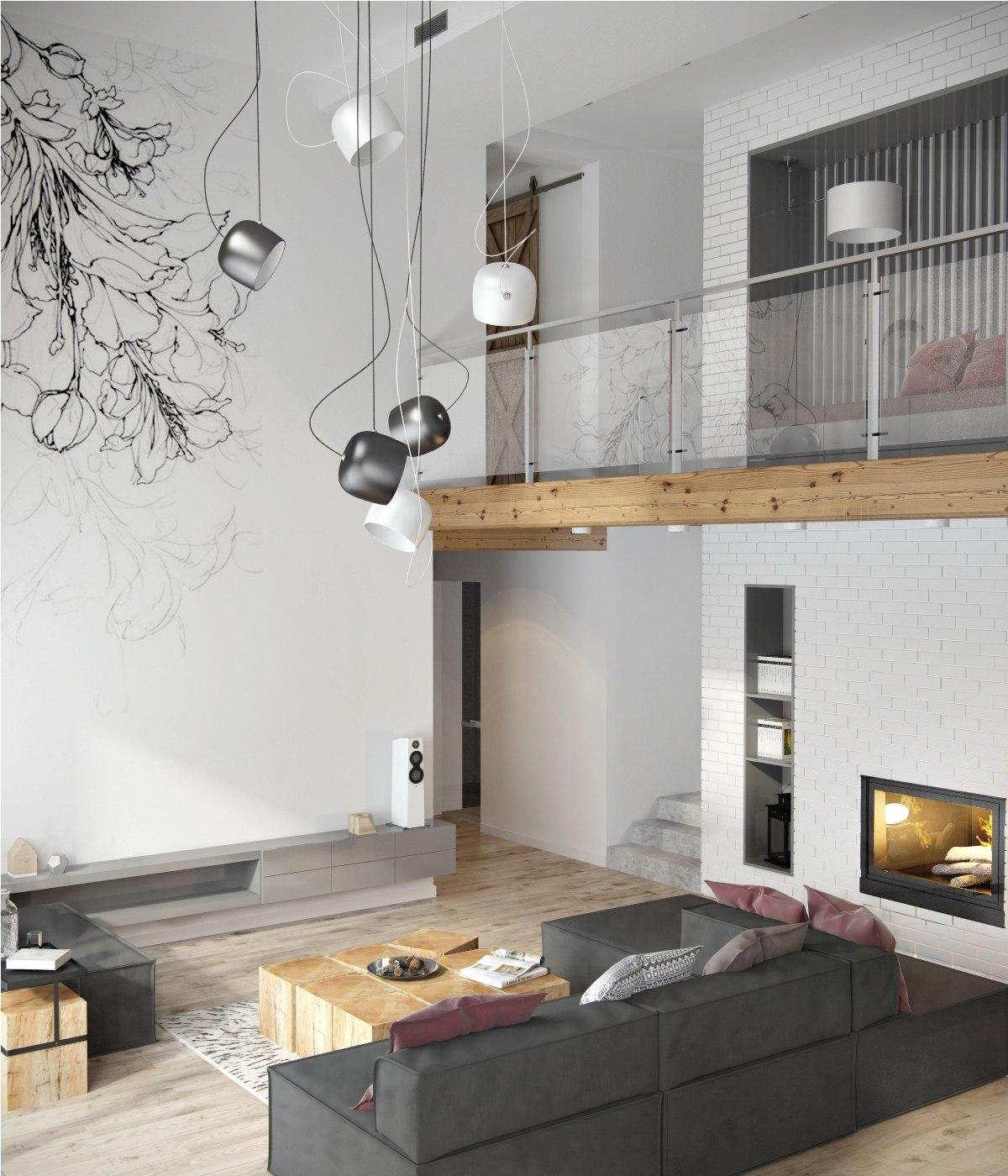 Salon avec de hauts plafonds