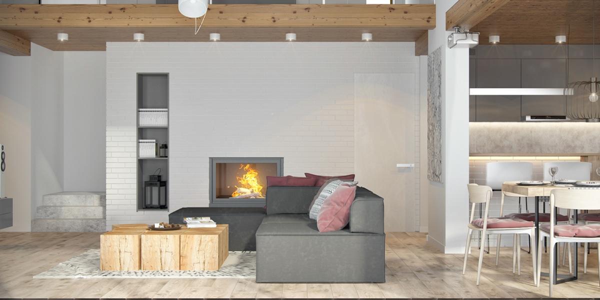 Salon avec un mur en briques blanches