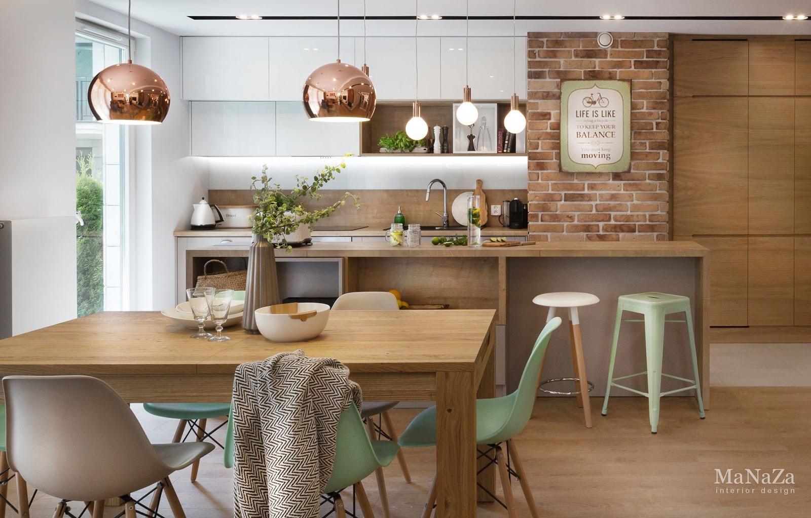du bois du cuivre et du vert menthe dans un int rieur. Black Bedroom Furniture Sets. Home Design Ideas