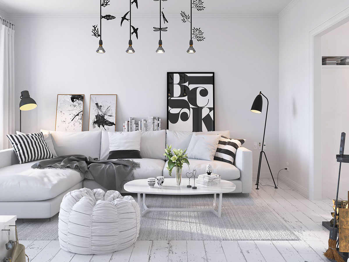 Salon scandinave avec un canapé blanc