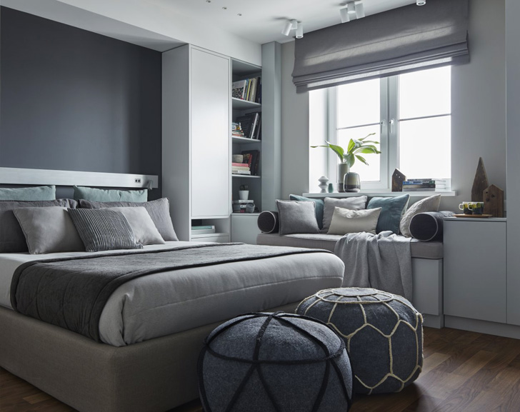 Chambre cosy déco grise
