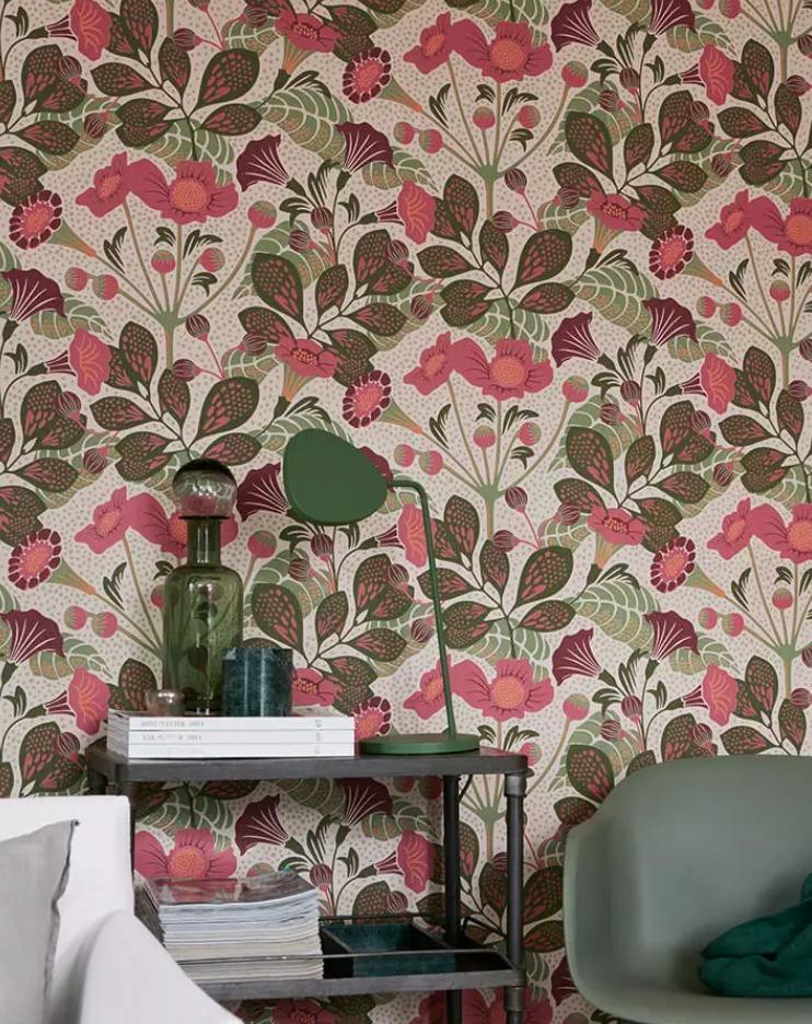 papier peint vintage à fleurs